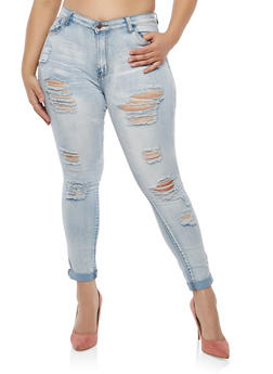 Plus Size Destruction Skinny Jeans - 1870072290364