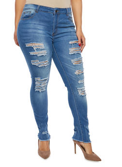 Plus Size Whisker Wash Distressed Skinny Jeans - 1870072290376