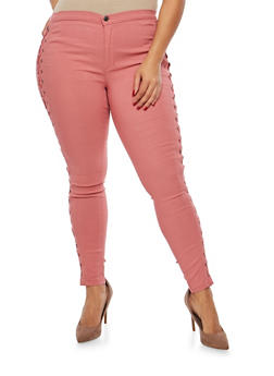 Plus Size Lace Up Jeggings - 1870072290378