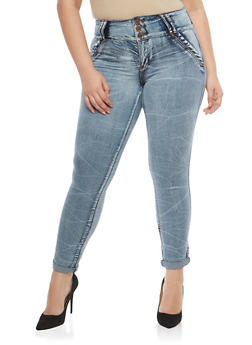 Plus Size 3 Button Stitch Pocket Jeans - 1870072290408