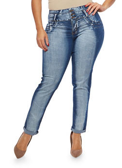 Plus Size 3 Button Acid Wash Push Up Jeans - 1870072290410