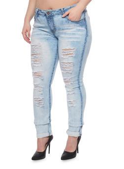 Plus Sized Destroyed Front Acid Wash Jeans - 1870072292981