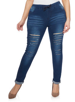 Plus Size Slashed Denim Joggers - 1870072293451