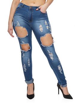 Plus Size Open Hole Roll Cuff Jeans - 1870072293661