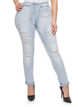 Plus Size Slashed Denim Joggers - 1870072293681