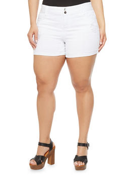 Plus Size Almost Famous Ripped Jean Shorts with Frayed Cuffs - 1871015994007