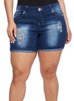 Plus Size Almost Famous Bleach Wash Shorts with Rips - 1871015996996