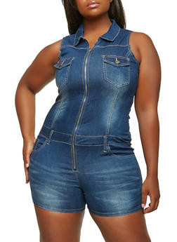 Plus Size VIP Zip Front Denim Romper - 1871065309665