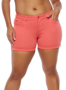 Plus Size Stretch Push Up Shorts - 1871068190197
