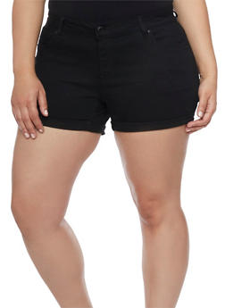 Plus Size Wax Push Up Denim Shorts - BLACK - 1871071610026