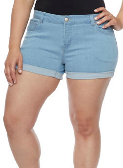 Plus Size Wax Push Up Denim Shorts - LIGHT WASH - 1871071610026