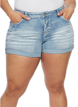 Plus Size WAX Whisker Wash Cuffed Denim Shorts - 1871071610060