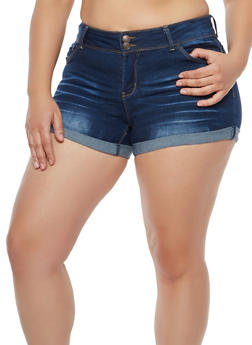 Plus Size WAX 2 Button Push Up Denim Shorts - 1871071610108