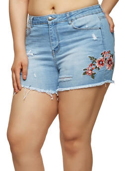Plus Size WAX Embroidered Denim Shorts - 1871071610118