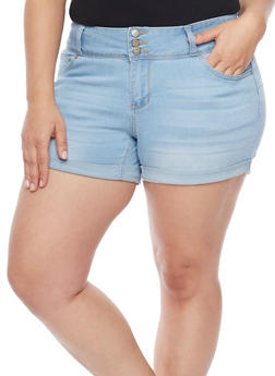 Plus Size WAX Cuffed Denim Shorts - 1871071610932