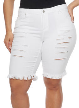 Plus Size Almost Famous Slashed Denim Bermuda Shorts - WHITE - 1872015992839