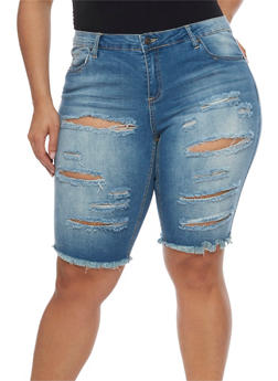 Plus Size Almost Famous Slashed Denim Bermuda Shorts - DARK WASH - 1872015992839