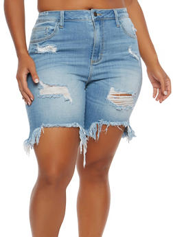 Plus Size Cello Destroyed Denim Bermuda Shorts - 1872063155250