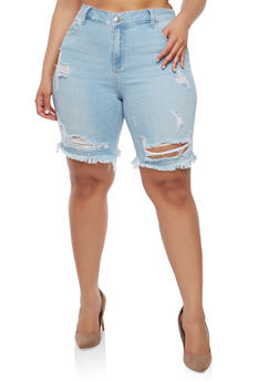 Plus Size Frayed Denim Bermuda Shorts - 1872063155417