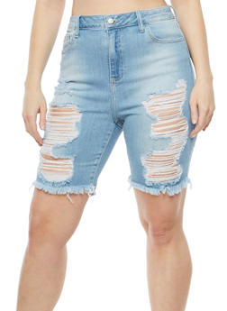 Plus Size Cello Destroyed Denim Bermuda Shorts - 1872063155464