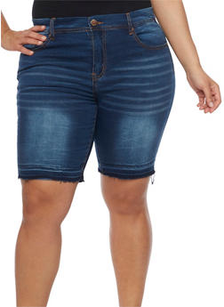 Plus Size VIP Whiskered Denim Bermuda Shorts - 1872065306776