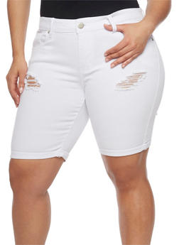 Plus Size VIP Distressed Denim Bermuda Shorts - WHITE - 1872065308771