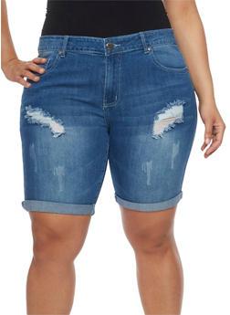 Plus Size VIP Distressed Denim Bermuda Shorts - MEDIUM WASH - 1872065308771