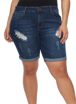 Plus Size VIP Distressed Denim Bermuda Shorts - 1872065308771