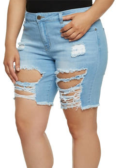 Plus Size VIP Destroyed Bermuda Jean Shorts - 1872065308867
