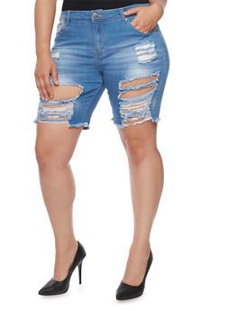 Plus Size VIP Destroyed Bermuda Jean Shorts - MEDIUM WASH - 1872065308867