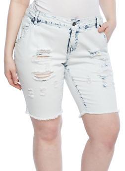 Plus Size Acid Wash Distressed Bermuda Shorts - 1872071315836