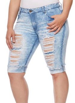 Plus Size Distressed Cloud Wash Denim Bermuda Shorts - 1872072292500