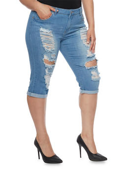 Plus Size VIP Destroyed Front Capri Jeans - 1873065308733
