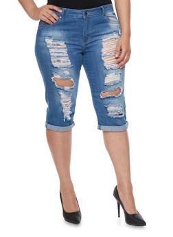Plus Size VIP Destroyed Front Capri Jeans - 1873065308733