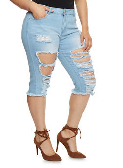 Plus Size VIP Destroyed Denim Capri Jeans - 1873065308867