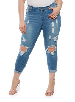 Plus Size WAX Ripped Skinny Jeans - 1873071619015