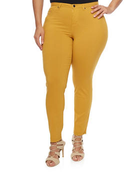 Plus Size 5 Pocket Skinny Pants - MUSTARD - 1874056570007