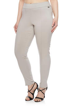 Plus Size Pull On Stretch Knit Pants - 1874056570029