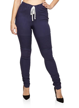 Plus Size Ruched Moto Joggers - 1874056570245