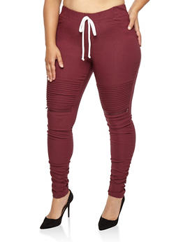 Plus Size Ruched Moto Joggers - WINE - 1874056570245