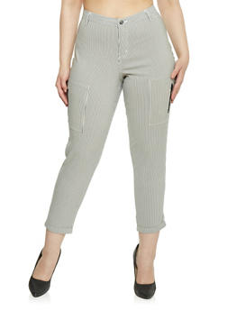 Plus Size Striped Zip Pocket Pants - 1874056572038