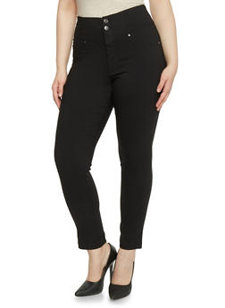 Plus Size High Waisted 5 Pocket Ankle Pants - 1874056572221