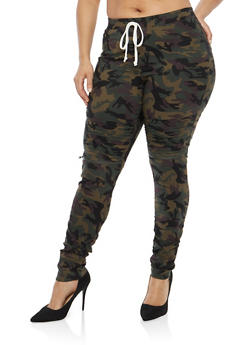 Plus Size Ruched Camo Moto Joggers - 1874056572245
