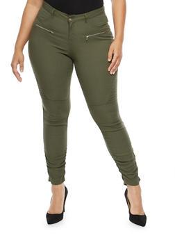 Plus Size Ruched Leg Stretch Pants - OLIVE - 1874056574105