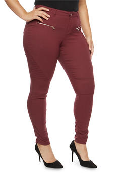 Plus Size Ruched Leg Stretch Pants - 1874056574105
