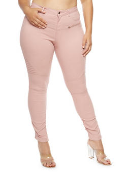 Plus Size Ruched Leg Stretch Pants - ROSE - 1874056574105