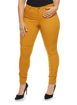 Plus Size Ruched Leg Stretch Pants - MUSTARD - 1874056574105
