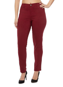 Plus Size Five Pocket Skinny Pants - 1874060580039