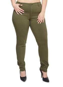 Plus Size Stretch Denim Pants - OLIVE - 1874060587339