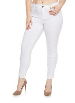 Plus Size Push Up Stretch Pants - WHITE - 1874061650198